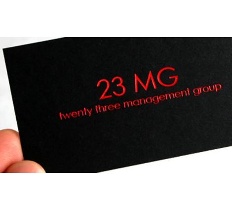 14PT Black matte card - Red foil