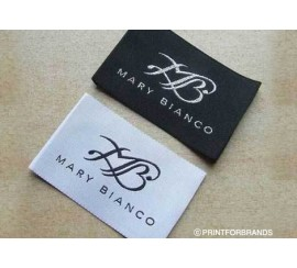Woven Satin clothing labels - black and white